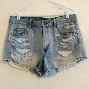 American Eagle High Rise Festival Distressed Short